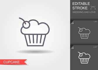 Cherry cupcake. Line icon with shadow and editable stroke