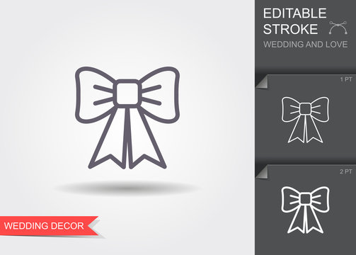 Decorative bow. Line icon with shadow and editable stroke