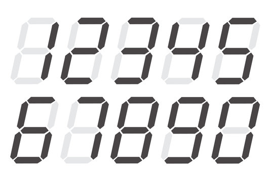 Digital numbers 0 - 9 on white background. flat style. digital numbers icon for your web site design, logo, app, UI. digital numbers symbol.