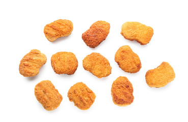 Tasty nuggets on white background