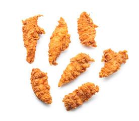 Tasty nuggets on white background