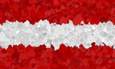 Graphic illustration of an Austrian flag with a heart pattern