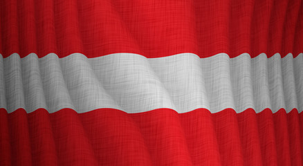 Graphic illustration of a flying Austrian flag with a fabric pattern