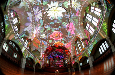 """A light projection shows the """"Genesis"""" multimedia project at the St. Jakob-Kirche in Zurich"""