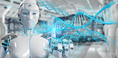 White woman cyborg scanning human DNA 3D rendering