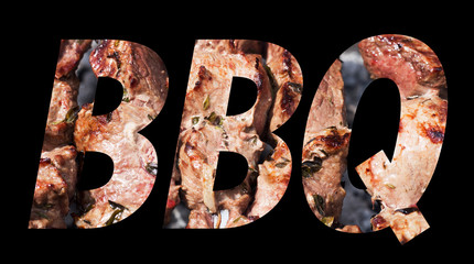 Word from photo of BBQ on black background