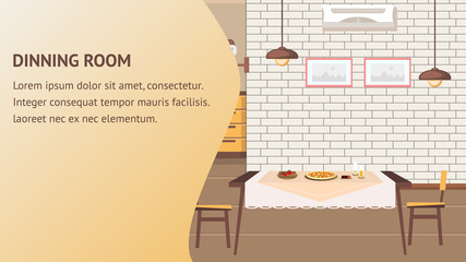 Dining Room Website Vector Banner Template