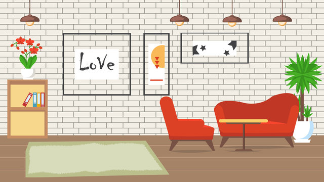 Living Room Design Flat Vector Illustration