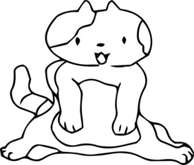 Poor hand-painted cute cat outline illustration
