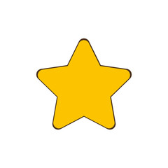Gold Star - vector icon in cartoon design. Star icon. Vector stars. Cartoon star