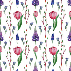 Hand drawn watercolor floral Seamless pattern.
