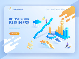 Boost your business. Modern isometric design concept of web page design