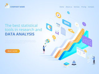 Statistical tools in research and data analysis. Vector isometric illustration