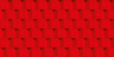 Volume realistic vector cubes texture, red geometric seamless tiles pattern, design background for you projects