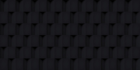 Volume realistic vector cubes texture, black geometric seamless tiles pattern, design dark background for you projects