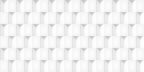 Volume realistic vector cubes texture, light geometric seamless tiles pattern, design white background for you projects