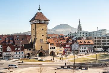 Stadtpanorama Reutlingen mit Tübinger Tor, Achalm, Rathaus und Marienkirche