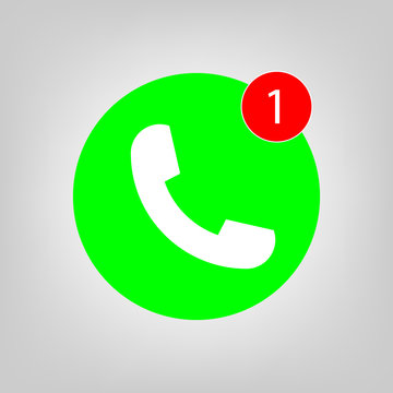 Phone vector icon with one missed call sign, white on green background for graphic design, logo, web site, social media, mobile app, ui illustration.
