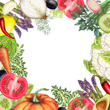 Hand drawn banner of organic vegetables