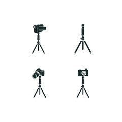 tripod icon set. camera on a tripod icon and tripod icon vector icons.
