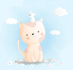 Cute baby cat watercolor style