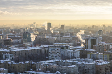 Moscow city winter panoramic views
