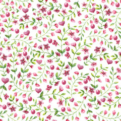 seamless pattern small pink flowers and leaf on white background