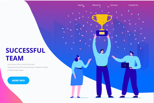 Business people character holding thropy and get reward. Team Work, Partnership, Leadership Concept. Flat vector illustration