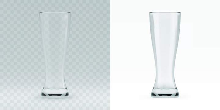 Empty transparent 3D rendered beer glass for drinking alcohol beverage