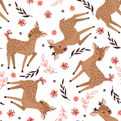 Seamless pattern with cute deers on white.