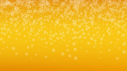 Beer foam. Craft lager splash. Oktoberfest background. bar flyer design. Pour pint of ale with realistic white bubbles. Cool liquid drink for Orange cup with beer foam.