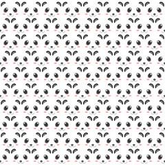 Panda pattern of heads decoration design. 2d style of animation artwork.