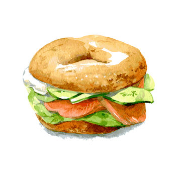 Bagel with cucumber, salmon, cream cheese. Watercolor illustration isolated on white background. Vector