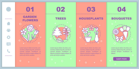 Plants shop onboarding mobile web pages vector template