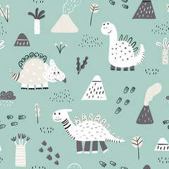 Seamless pattern with hand drawn cute dino. Creative vector childish background for fabric, textile, nursery wallpaper. Vector Illustration.