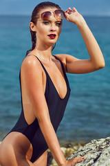 Sexy amazing  girl in sea. Croatia coast