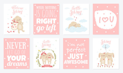 Vector poster collection with cute rabbits and spring slogan