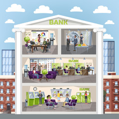 Bank office interior. People make financial operations