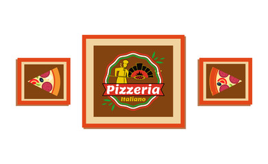 Pictures in frame with pizza vector, pizzeria decoration. Italiano Italian recipe of traditional food with cheese and salami, mushrooms and greenery
