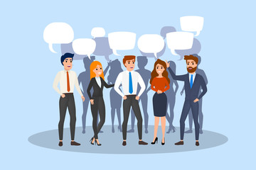 People talk using speech bubble. Group of business people