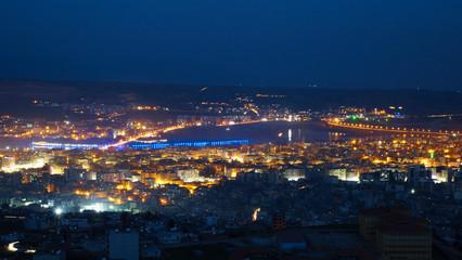 Cizre cityscape, Cizre night city view with dicle, tigris river, Şırnak, Cizre landscape