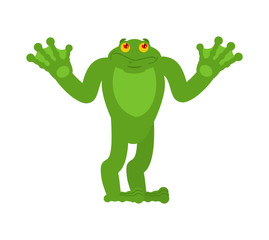 Frog confused oops. Toad perplexed emotions. Anuran surprise. Vector illustration