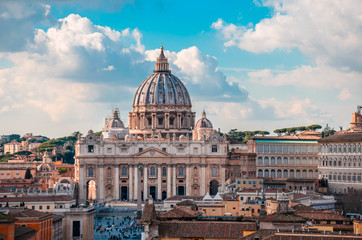 St Peter's Basilica, one of the largest churches in the world and top sights in Rome located in Vatican city.