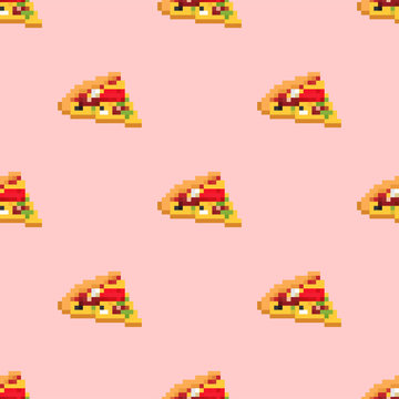 Pizza pixel art pattern seamless. Fast food 8bit background. Video game Old school digital graphics ornament
