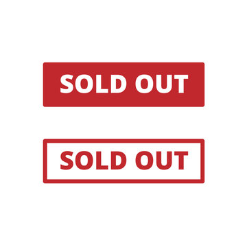 Sold Out vector banner for business and promotion. 2 kinds of buttons with and without outline. Red buttons for ui design.