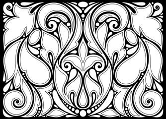 Monochrome Floral Background in Paisley Garden Indian Style