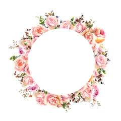 Round floral frame. Wedding invitation design with watercolor roses. Floral greeting card. Floral wreath.
