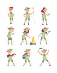 Children scouts. Cartoon kids in scout uniform in summer camping. Funny boys and girls tourist vector characters. Illustration of boy and girl in uniform scout