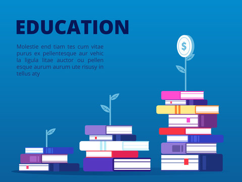 Investment in self education vector concept banner. Illustration of education investment, literature knowledge