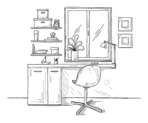 Sketch the room. Office chair, desk, various objects on the table. Sketch workspace. Vector